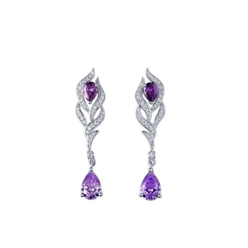 白鋯石圓形紫翅膀(bang)純銀彩(cai)寶耳環