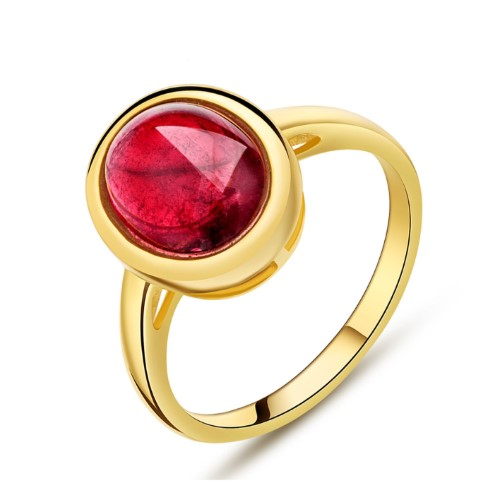 金(jin)巴西天然紅碧璽戒指