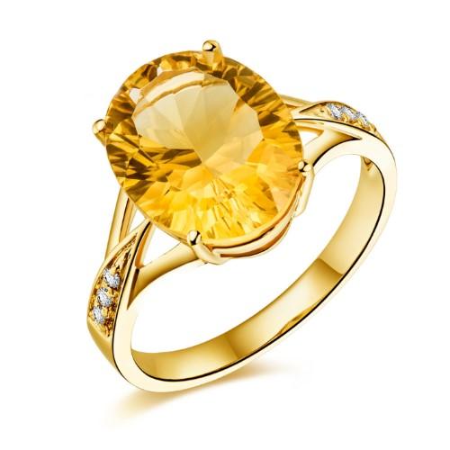 2.5克拉黃晶寶石戒指(zhi)